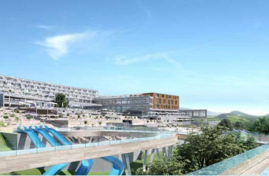 Projekt kompleksu turystycznego w Babicy koło Wadowic z aquaparkami, zjeżdżalniami wodnymi i całorocznym krytym stokiem - zdjęcie: Studio Architektoniczne LA